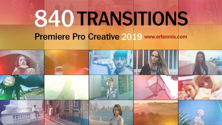مجموعه 840 ترانزیشن پریمیر Adobe Premiere Creative